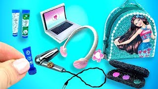 Barbie Doll Set. DIY Miniature for Barbie Doll (Backpack, hairdryer, headphones, makeup set)