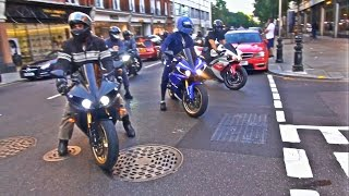 30 Superbikes shutdown Knighstbridge by revving and doing burnouts around the areas with an array of Yamaha R1's, Bmw S1000RR's and Suzuki GSXR's to name a few! The sounds were amazing and my apologies for the shaky videos there was literally too much happening at once!