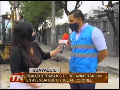 Realizan trabajos de repavimentación en avenida Quito y Julián Coronel