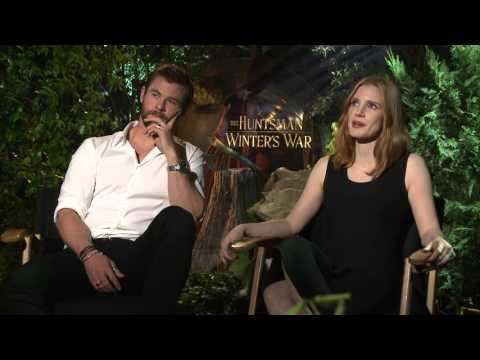 The Huntsman Winter's War Cast Interview with Chris Hemsworth & Jessica Chastain