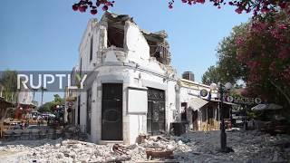 Drone footage captured the destruction of historic buildings, homes and cafes on the Greek island of Kos following an earthquake...
