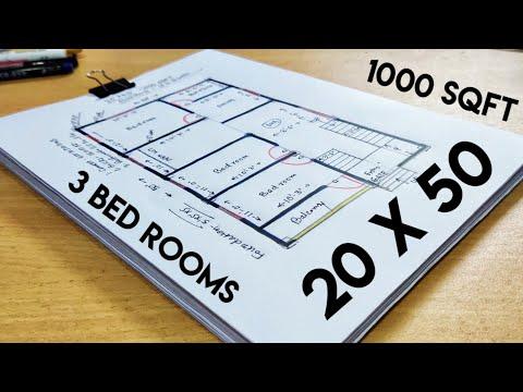 20 x 50 house plan II 20 x 50 ghar ka naksha II 1000 sqft home design