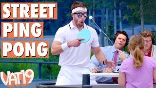 "We took our Pongo Portable Ping Pong Set out on the streets and challenged random people to a game of WimblePong which is Ping Pong Wimbledon Style.Buy here: https://www.vat19.com/item/pongo-portable-ping-pong-table-tennis-set?adid=youtubeSubscribe to Vat19: http://www.youtube.com/subscription_center?add_user=vat19comFollow Vat19:Facebook: https://facebook.com/vat19Instagram: https://instagram.com/vat19/Twitter: https://twitter.com/vat19SnapChat: https://www.snapchat.com/add/vat19teamShop hundreds more curiously awesome products:https://www.vat19.com/?adid=youtubePing Pong (officially known as Table Tennis) is super fun. However, owning a special table for one game is expensive and cumbersome. Enter Pongo! This ultra-compact and portable set turns any tabletop into a table tennis court.Setup is simple with the 65-inch-wide wind-up net - just place the support posts on either side of your table and the net automatically unwinds. The weighted bases and winding mechanism guarantee that the net remains taut.The exceptionally compact Pongo features paddles with retractable handles and support pillars which store the wind-up net as well as several balls.The Pongo Portable Table Tennis Set includes the wind-up net, two Ping Pong balls, two racquets, and a mesh drawstring storage bag.Watch More Vat19:Latest Uploads: https://www.youtube.com/user/vat19com/videos?shelf_id=1&view=0&sort=ddPopular Videos: https://www.youtube.com/user/vat19com/videos?shelf_id=7&view=0&sort=pThe Sample Room: https://www.youtube.com/watch?v=jL1JK0U6s28&list=PLSqiExuEA-RG_aF5u4q5gEvJiUfoa6l25Fun Stuff to Eat: https://www.youtube.com/watch?v=7RXmNRr8x7I&list=PLSqiExuEA-REt5gzR0A9ernZNHlZ2glIlAbout Vat19:Vat19 is dedicated to ""curiously awesome"" gifts, candy, toys, gummy, putty, puzzles, games, and more! In addition to making funny commercials you'll actually want to watch, we produce amazing challenge videos, document our outrageous contraptions, and invite you to a front row seat for our silly stunts. Sometimes we blow things up, fill up a bathtub or pool with crazy stuff, dare each other to eat super spicy foods, and answer ""burning questions"" from our viewers."