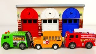 Fire Truck Garbage Truck and School Bus Vehicles with Car Garage Playset for Kids