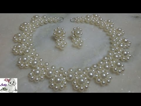 #3 How to make Pearl Beaded Necklace Set    Diy    Jewellery Making