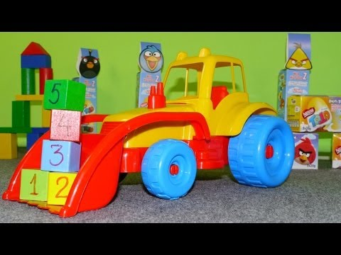 Мультфильмы про машинки: Трактор и Кубики с Цифрами.