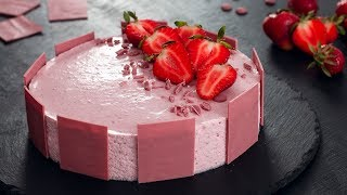 Ruby Chocolate Strawberry Mousse Cake by Home Cooking Adventure