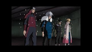 Orochimaru revive a The Four Hokages / Sasuke habla con The Edo Tensei Hokages