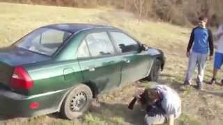 Crazy Guy Trying To Break Car Window With His Head