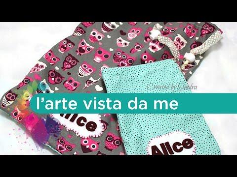 Cucito creativo:sacca asilo tutorial-Cucire sacchetto con laccetti-Back to school-Drawstring bag