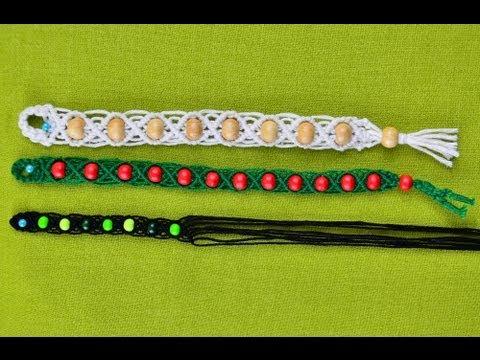DIY Wavy Macrame bracelet with beads