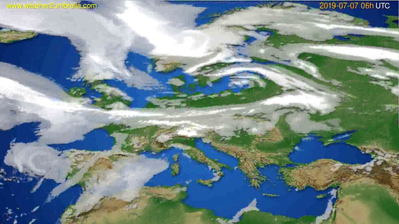 Cloud forecast Europe // modelrun: 12h UTC 2019-07-04