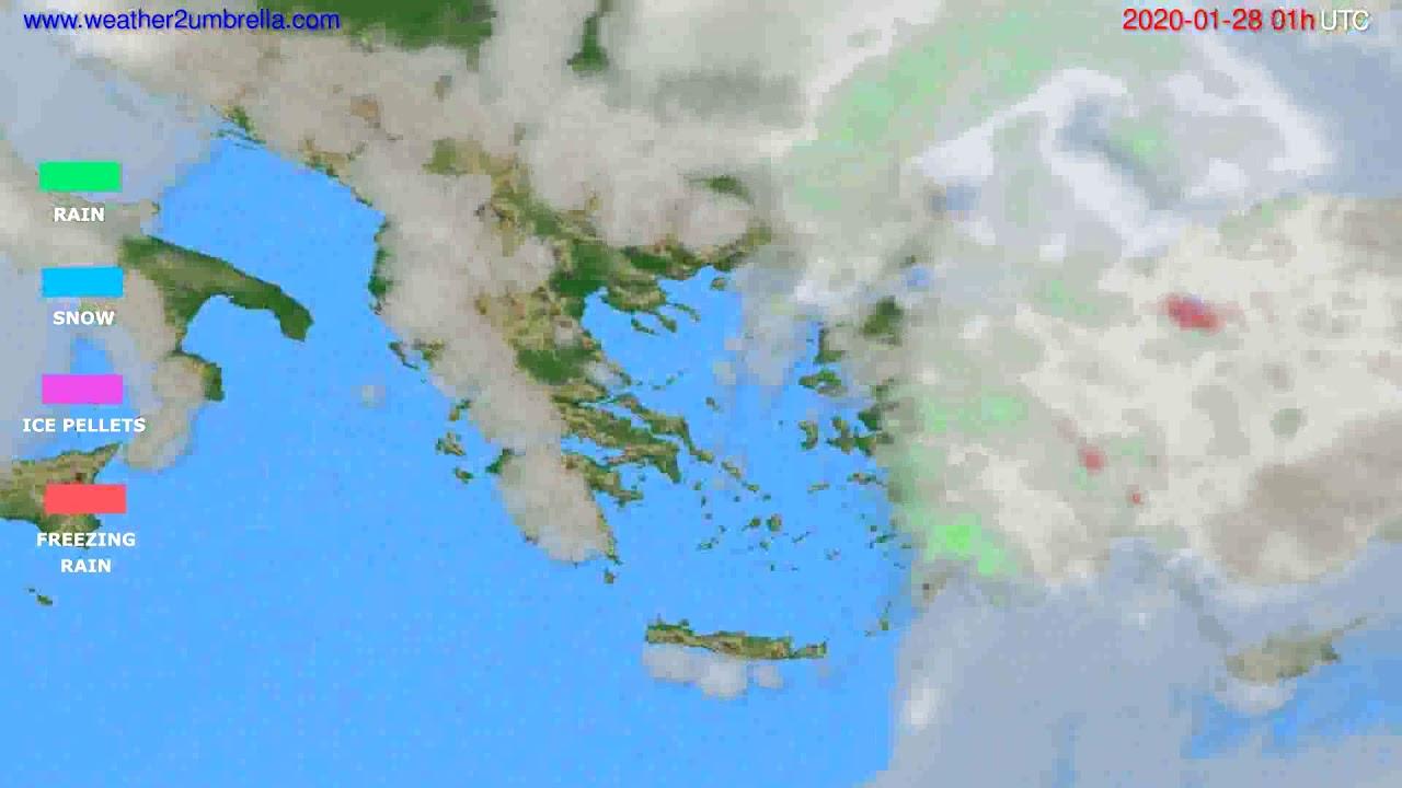 Precipitation forecast Greece // modelrun: 12h UTC 2020-01-26