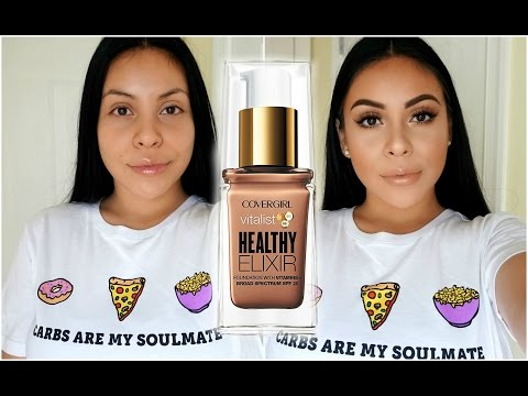 NEW COVERGIRL VITALIST HEALTHY ELIXIR FOUNDATION TESTED: REVIEW + DEMO! | JuicyJas