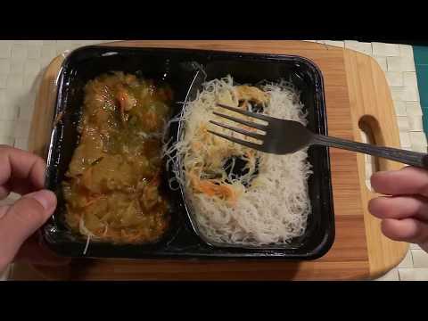 Troškinta vištiena su daržovėmis ir ryžių makaronais iš IKI