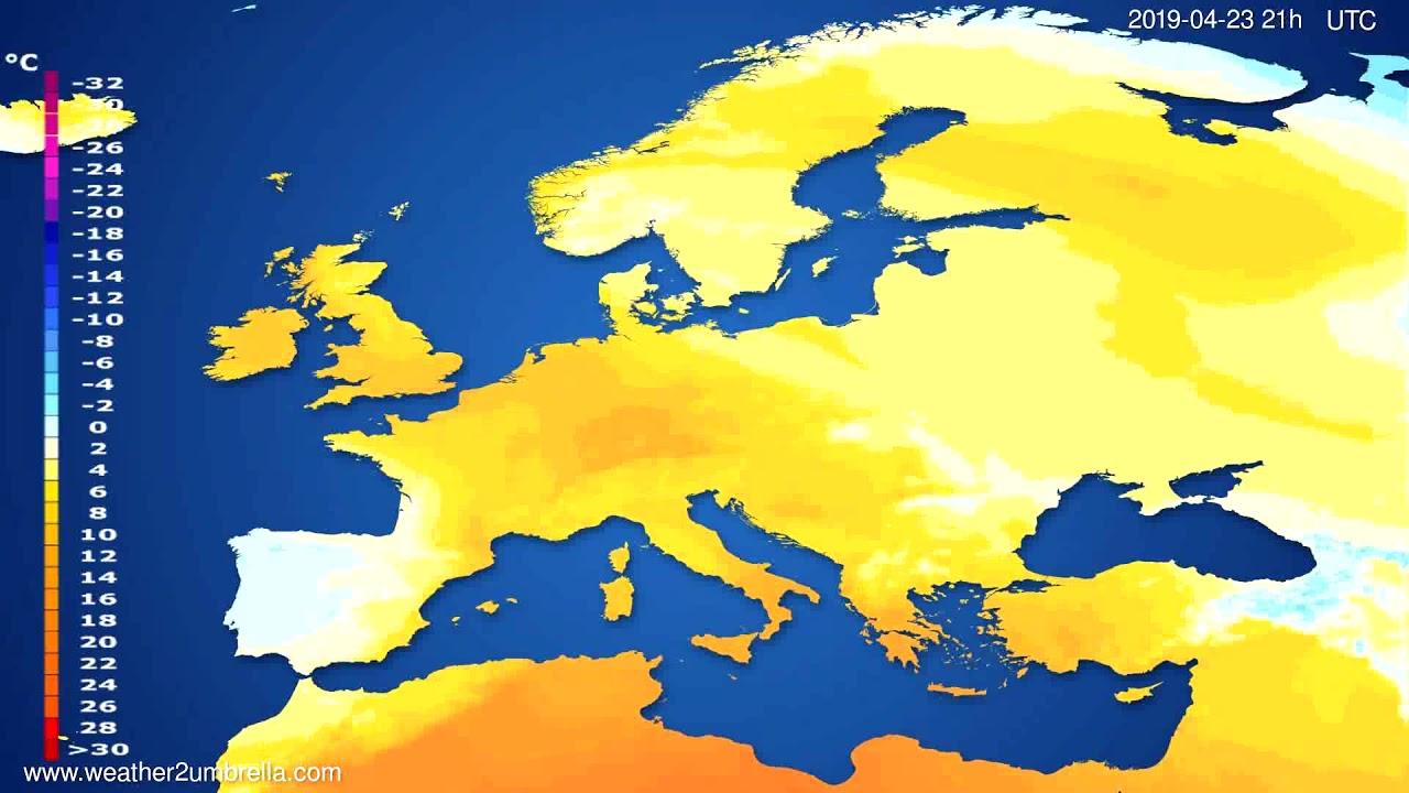 Temperature forecast Europe // modelrun: 00h UTC 2019-04-22
