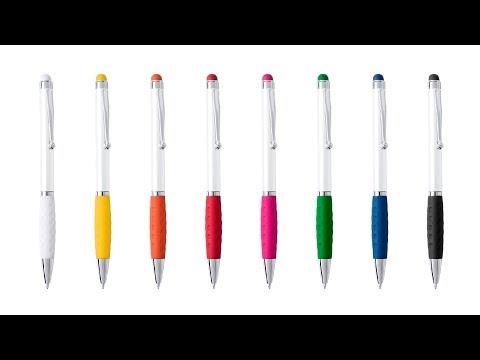 Boligrafo blanco con puntero tactil de color personalizado