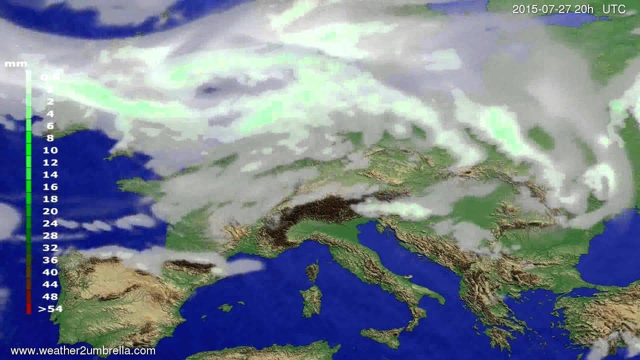 Precipitation forecast Europe 2015-07-25