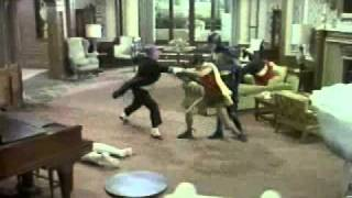 The fight scene from the 1966 Batman episode The Bird's Last Jest featuring Batman (Adam West) and Robin (Burt Ward) vs The Penguin (Burgess Meredith) and hi...