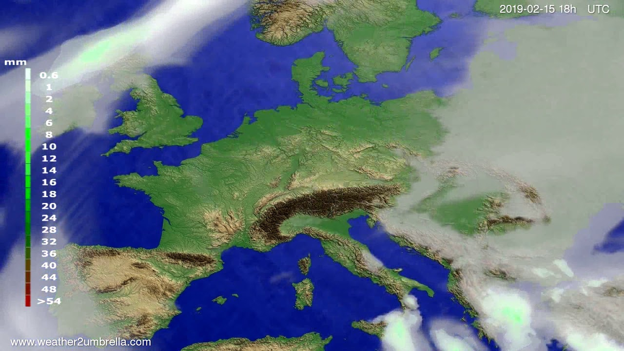 Precipitation forecast Europe 2019-02-14