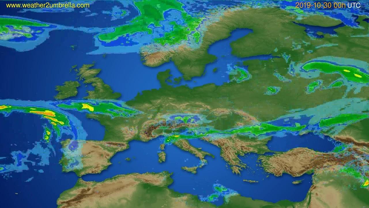 Radar forecast Europe // modelrun: 12h UTC 2019-10-29