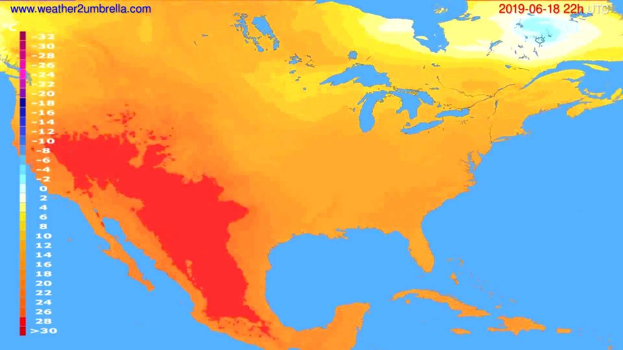Temperature forecast USA & Canada // modelrun: 00h UTC 2019-06-16