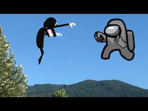 Among us vs Cartoon dog in real life - Epic fight!