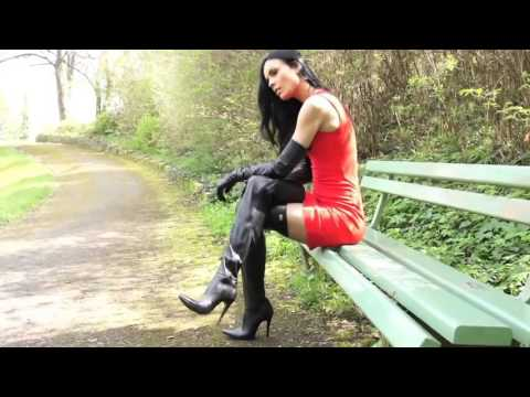 Putting On Long Leather Gloves Wearing Thigh Boots Preview ...