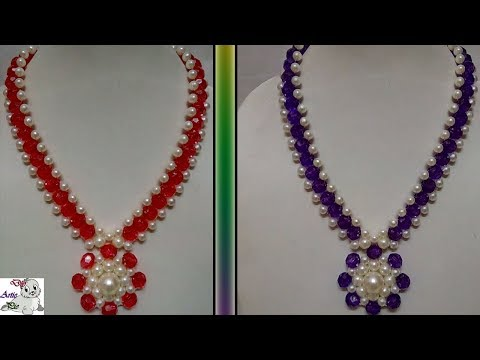 #80 How to Make Pearl Beaded Necklace    Diy    Jewellery Making