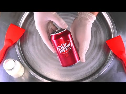 Dr. Pepper Ice Cream Rolls | how to make Cola rolled fried Ice Cream with Dr Pepper Coke | ASMR Food