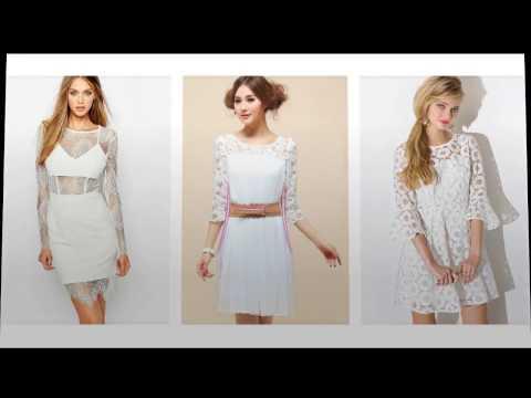 Lange Hülse  Spitzenkleid Weißes, Schöne Weißes Kleid Mit Spitze