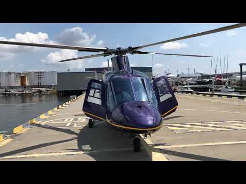 Ground idling of an Agusta 109C at Pier 7 in Baltimore...