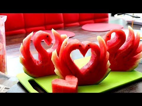 How To Make Watermelon Swan - Fruit and Vegetable Carving Garnish - Food Art - Party Decoration