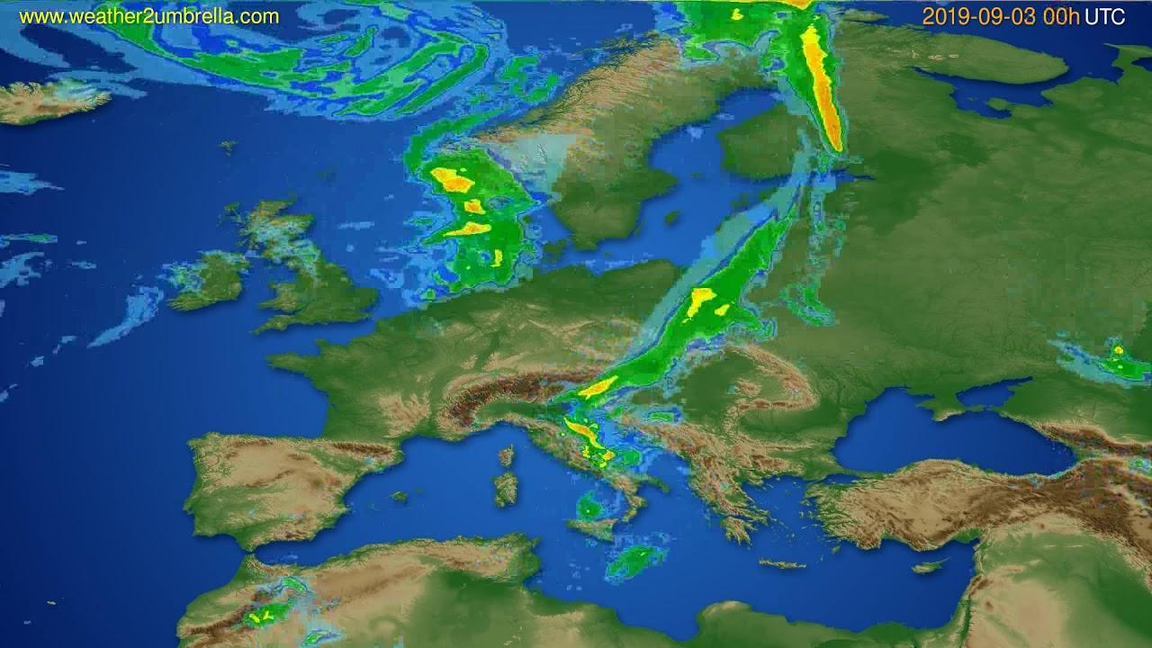 Radar forecast Europe // modelrun: 12h UTC 2019-09-02