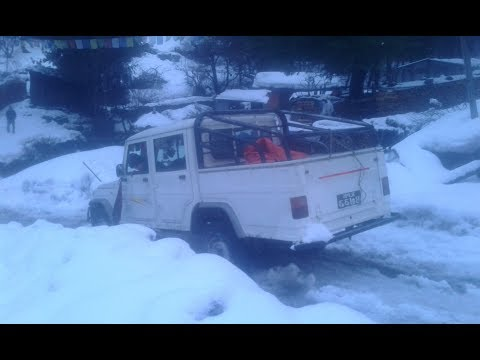 SNOW ROAD AT MANANG CHAME DRIVEING BOLERO JEEP AND TRUCK ,VERRY DENGER,S ROAD- Manang