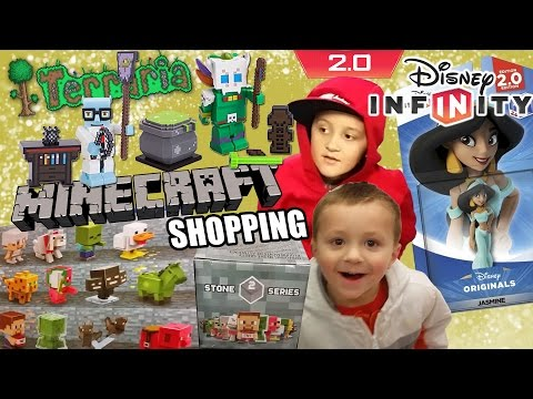 Dad & Sons go Shopping! Minecraft Stone Series 2 Boxes, Terraria Toys & Disney Infinity Jasmine!