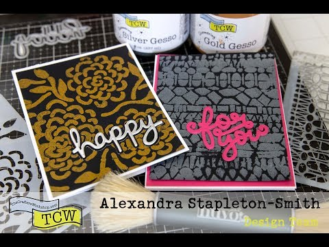 Mixed Media for Cardmaking - Tips for using metallic gesso through stencils