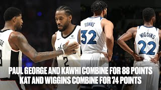 Kawhi Leonard (42 PTS) and Paul George (46 PTS) Face-Off vs KAT (39 PTS) and Andrew Wiggins (34 PTS) by Bleacher Report