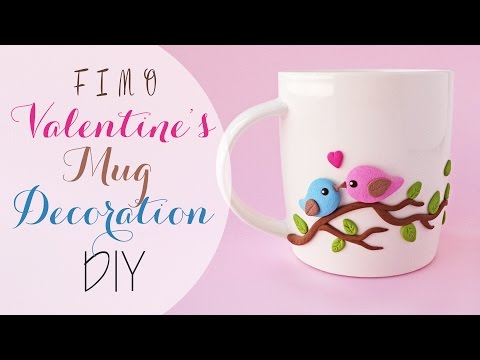 tazza decorata in fimo a tema san valentino - tutorial