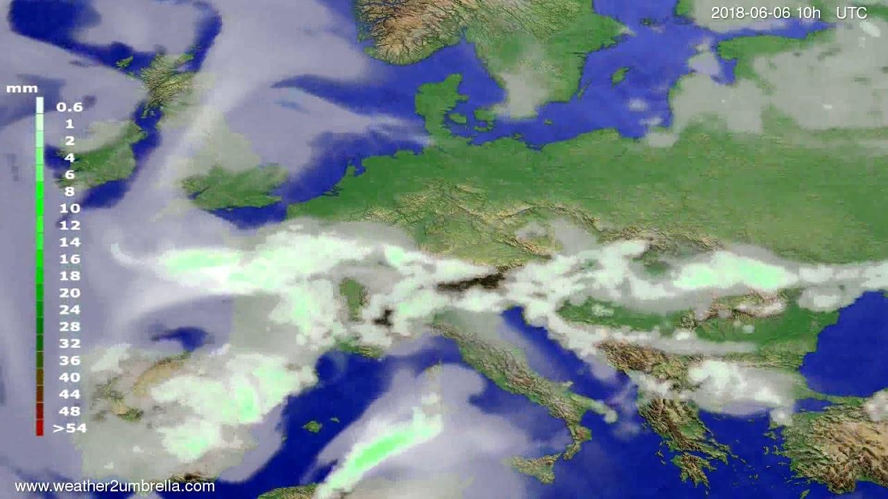Precipitation forecast Europe 2018-06-04