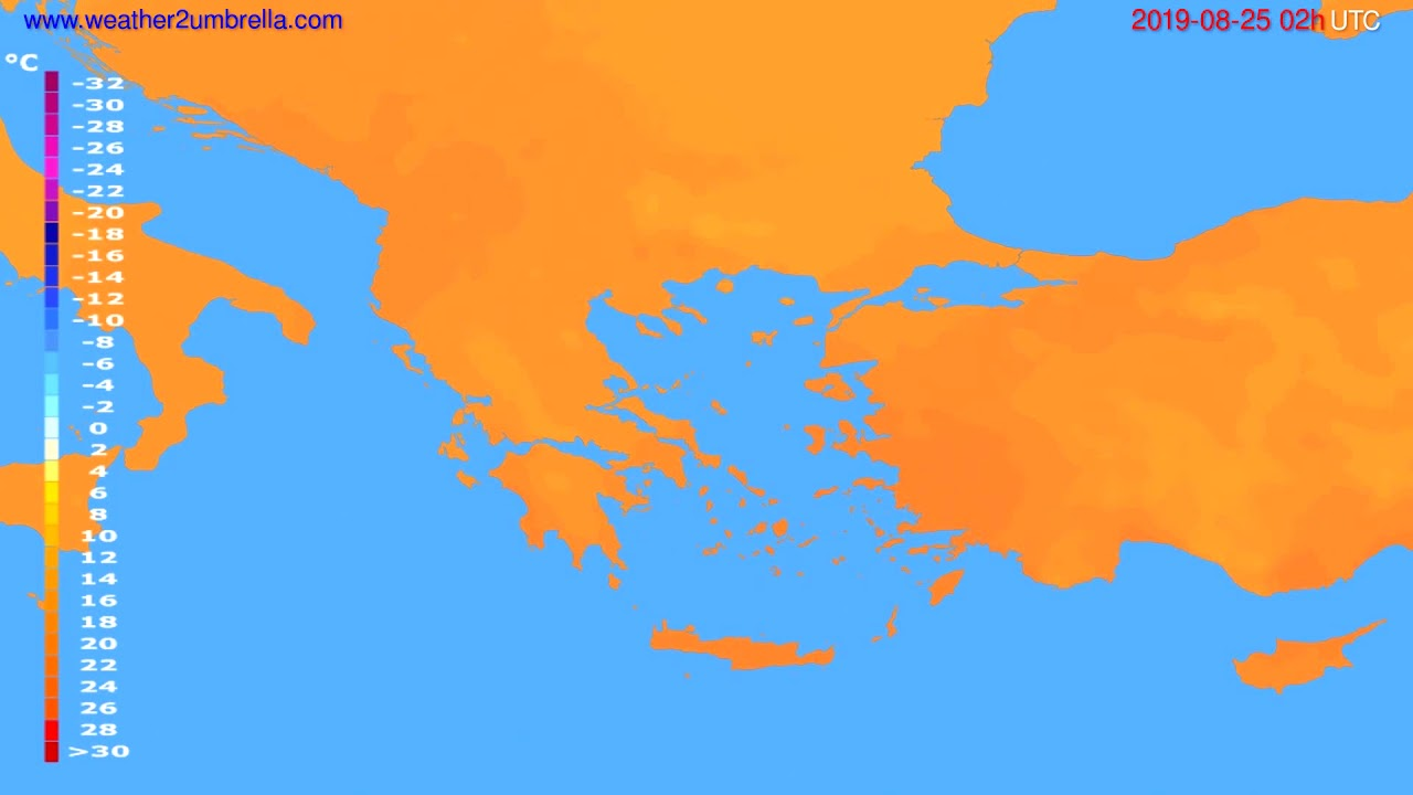 Temperature forecast Greece // modelrun: 00h UTC 2019-08-23
