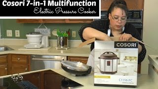 "Join Amy for an unboxing of the Cosori 7-in-1 Multifunction Electric Pressure Cooker. This is a 6 quart electric pressure cooker that gives you the ability to cook delicious and easy meals quickly. You can use it as a pressure cooker, slow cooker, rice cooker, saute pan, stock pot, steamer & warmer. It has 15 cooking modes: meat, poultry, vegetables, steam, saute, slow cook, white rice, brown rice, beans, broth, curry, soup, multigrain, congee, and chili. It comes with an extra sealing gasket and glass lid. Stay tuned for Eric's Chunky Beef Stew made in the Cosori Pressure Cooker as well as a giveaway! Amy Learns to Cook is all about learning to make simple, tasty food from fresh ingredients.  One year ago, I made a commitment to stop eating processed convenience foods.  I decided to learn to cook ""real"" food. Join me!  Let's learn to cook together! Enjoy! Please share! Cosori Electric Pressure Cooker 7-in-1 Multifunctional:http://amzn.to/2pqHxBPPlease SUBSCRIBE to my channel, LIKE, and leave a COMMENT.Please visit my website: www.amylearnstocook.comAny links in this description, including Amazon, are affiliate links.I received this product free of charge in exchange for my honest review."