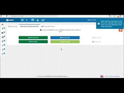 miniLIS Cloud. Registration of new orders.