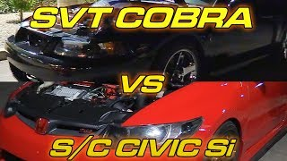 The Terminator Cobra makes 460whp 450wtq, @thetongmang's Supercharged Civic Si makes 372whp 252wtq