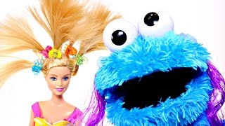 Barbie and Cookie Monster bake chocolate chip cookies. They play hide & seek and do each other's hair while they wait for their cookies. Our official pages! ...