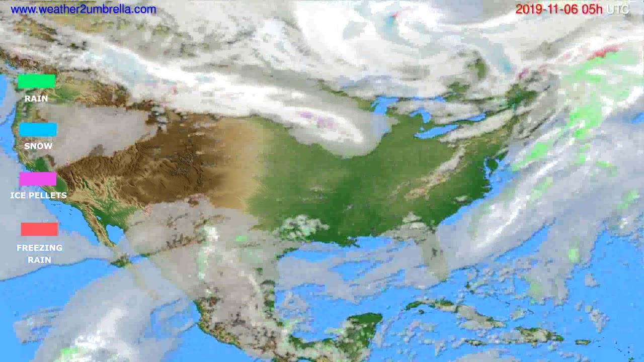 Precipitation forecast USA & Canada // modelrun: 12h UTC 2019-11-04