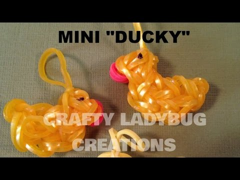 Rainbow Loom Bands MINI RUBBER DUCK/Bird Easy/CHARM How to Make Crafty Ladybug