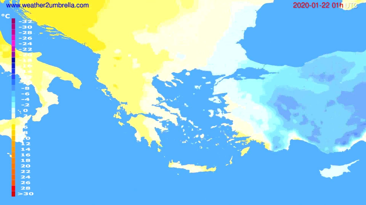 Temperature forecast Greece // modelrun: 12h UTC 2020-01-20