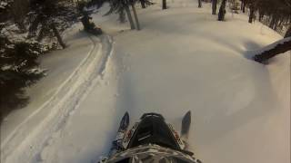 8. 2013 Polaris 800 Assault  in the powder for miles!!! Rangeley Maine Backcountry