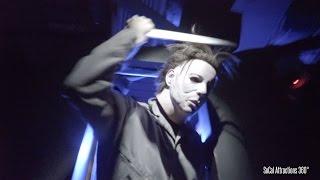 [4K] SCARIEST Halloween Maze Walk-through - A Michael Myers Haunted House - Horror Nights 2015